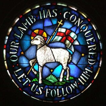 Moravian Seal, or Agnus Dei, stained glass window in the Rights Chapel at Trinity Moravian Church, Winston-Salem, NC