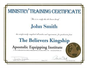 Ministry Training Certificate