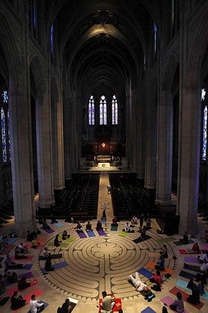 Yoga class on Grace Cathedral's Labyrinth